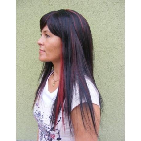 Černá paruka s červeným melírem